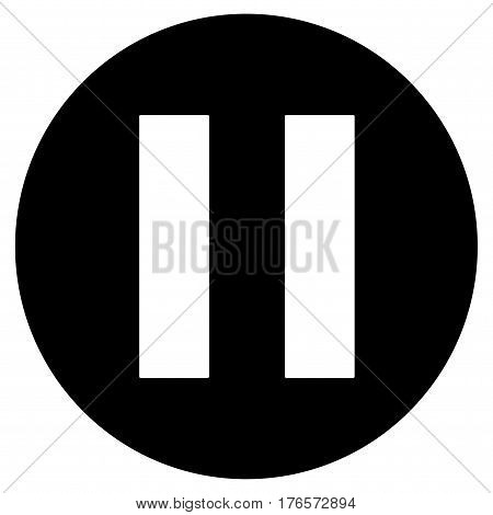 Pause vector sign button in black circle.