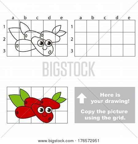 Copy the picture using grid lines. Easy educational kid game. Simple level of difficulty. Copy the Cornelia Cherry.