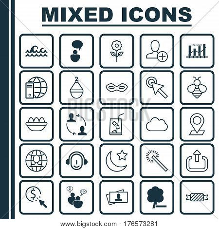 Set Of 25 Universal Editable Icons. Can Be Used For Web, Mobile And App Design. Includes Elements Such As Pinpoint, PPC, Insert Person And More.