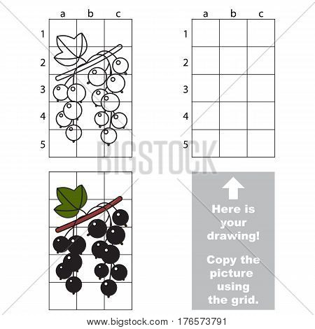 Copy the picture using grid lines. Easy educational game for kids. Simple kid drawing game with Blackcurrant