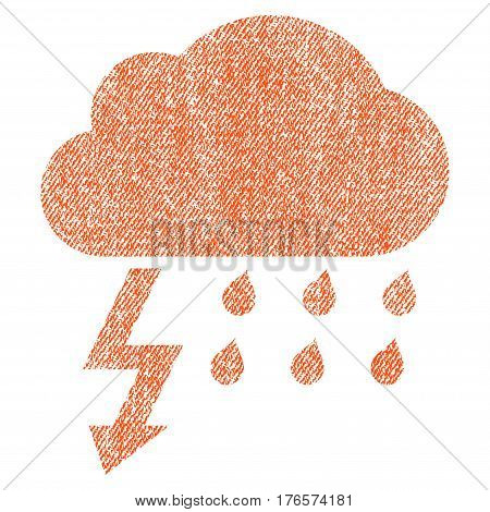Thunderstorm vector textured icon for overlay watermark stamps. Fabric orange vectorized texture. Symbol with scratched design. Rubber seal stamp with fiber textile structure.