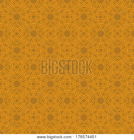 Celtic Seamless Pattern In Medieval Style In Warm Orange Shades. Plexus Background Endless Repeat Ba