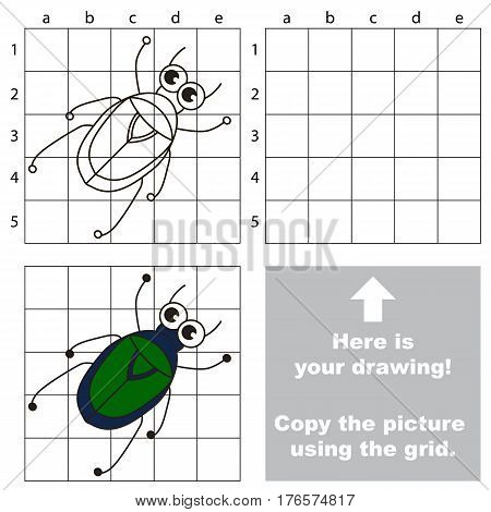 Copy the picture using grid lines. Easy educational game for kids. Simple kid drawing game with Chafer. poster
