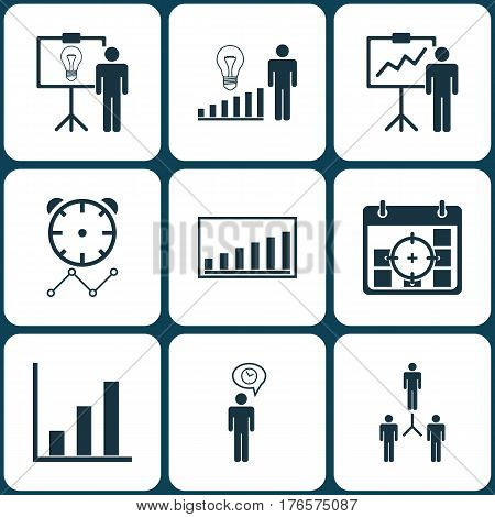 Set Of 9 Administration Icons. Includes Special Demonstration, Decision Making, Company Statistics And Other Symbols. Beautiful Design Elements.