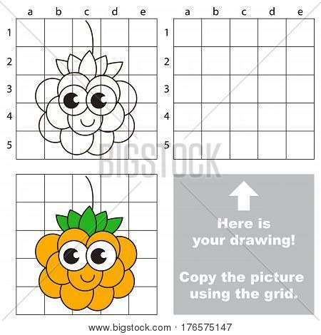 Copy the picture using grid lines. Easy educational kid game. Simple level of difficulty. Copy the Cloudberry.