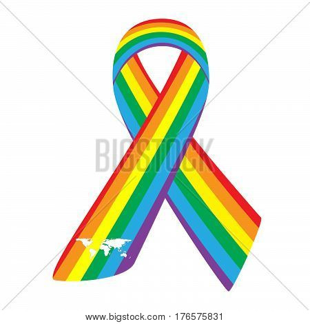 Rainbow Ribbons Isolated on white. Symbol gay and lesbian equality, LGBT-community. Vector illustration icon gay-pride flag.