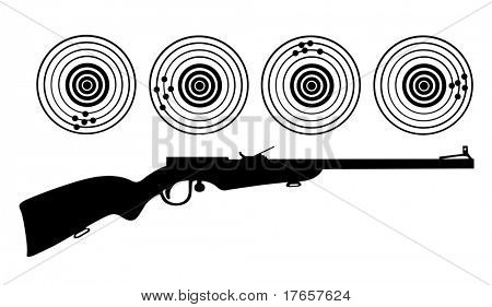 silhouette of the rifle on white background