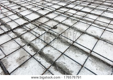 Concrete casting preparation and layout for steel rebar.