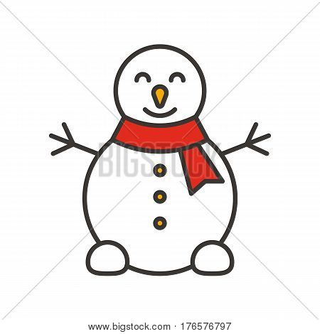 Snowman color icon. Snowman with red scarf. Isolated vector illustration