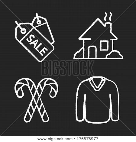 Winter season chalk icons set. Store sale price tags, house, candy canes, sweater. Isolated vector chalkboard illustrations