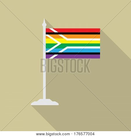 Gay  pride flag of South Africa. LGBT flag with flagpole flat icon with long shadow. Vector illustration EPS10 of a rainbow pride.
