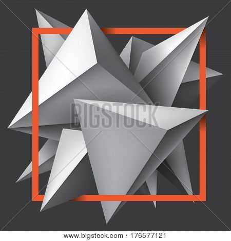 Volume geometric shapes, 3d crystals. Abstract low polygons object composition. Bright orange frame. Vector design form