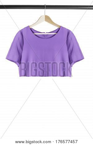 Purple casual crop top on wooden clothes rack isolated over white