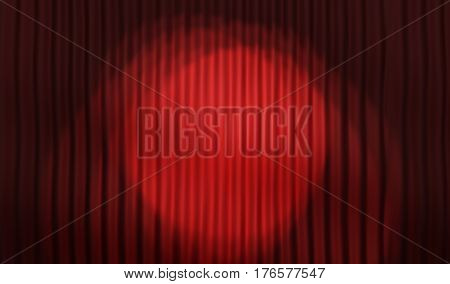 Empty stage and Red stage curtain. 3d illustration