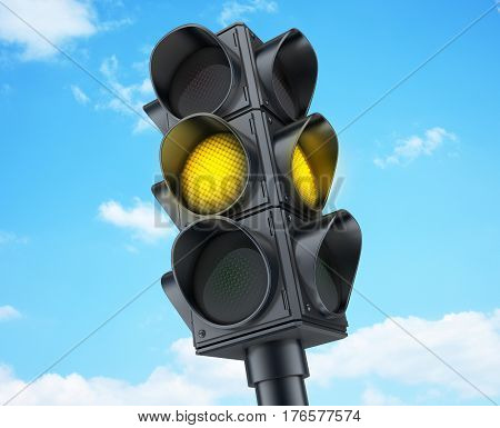 Yellow traffic lights on sky background. 3d illustration