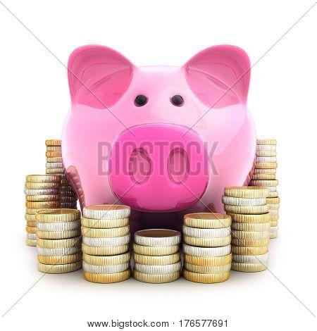 pink pig piggy-bank and coinns. 3d illustration