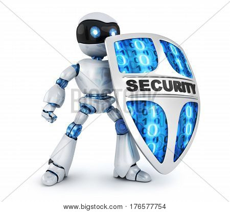 Protecting robot and shield security. 3d illustration isolated