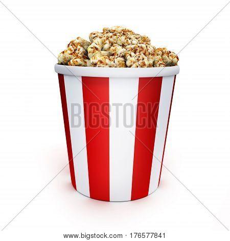 Popcorn box only on white background. 3d illustration