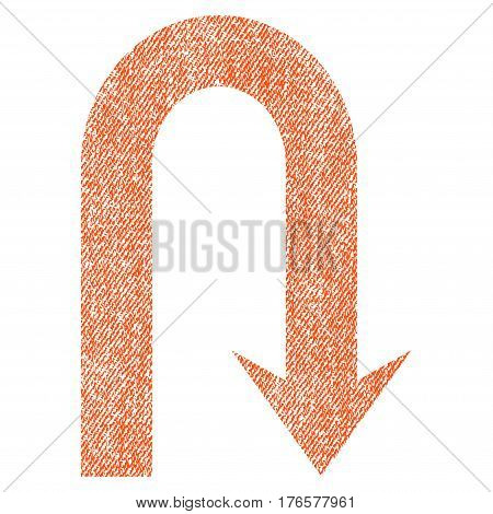 Turn Back vector textured icon for overlay watermark stamps. Fabric orange vectorized texture. Symbol with scratched design. Rubber seal stamp with fiber textile structure.
