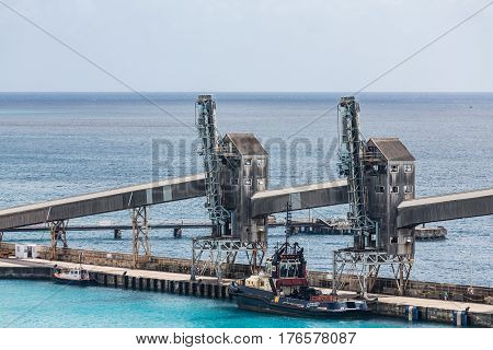 Old Silos on a Pier on Barbados