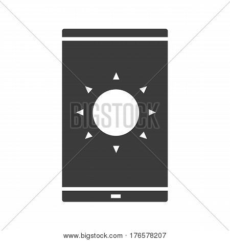 Smartphone solar charging icon. Silhouette symbol. Smart phone with sun. Negative space. Vector isolated illustration