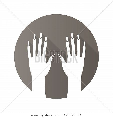 Woman's hands with manicure. Flat design long shadow icon. Manicure salon. Vector silhouette symbol