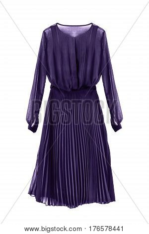 Elegant purple chiffon dress with pleated skirt on white background