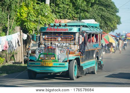 Zamboanga - March 1 2017: Jeepney in Zamboanga a city on Mindanao The Philippines constantly plagued with kidnappings and terrorist attacks by Abu Sayyaf a Jihadist terror group based on the Basilan islands just south of the city.
