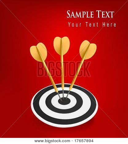 Gold darts hitting a target. Success concept. Vector illustration
