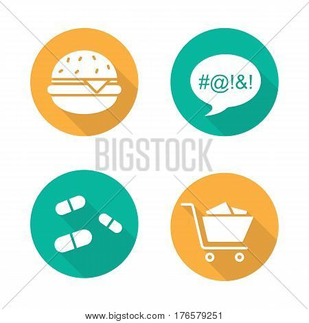 Addictions flat design long shadow icons set. Obesity, dirty language, pills and oniomania shopping. Fast food, drugs, shopping cart and swearing. Vector silhouette illustration