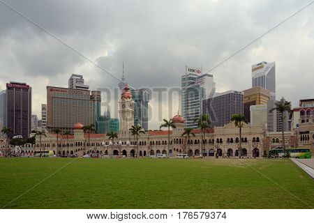 Kuala Lumpur Malaysia - November 1 2014: Palace of the Sultan Abdul Samad considered one of the most recognizable landmarks of Kuala Lumpur. Today the palace is placed the Supreme Court of Malaysia.