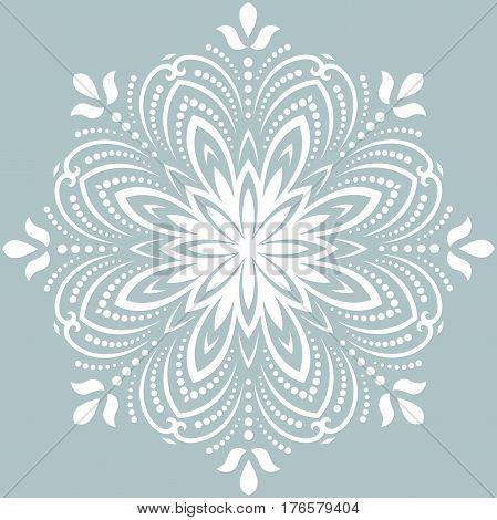 Elegant round white ornament in the style of barogue. Abstract traditional pattern with oriental elements