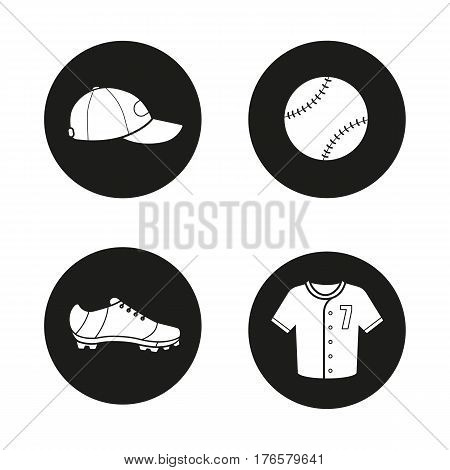 Baseball icons set. Softball equipment. Ball, cap, shoe and t-shirt. Vector white silhouettes illustrations in black circles