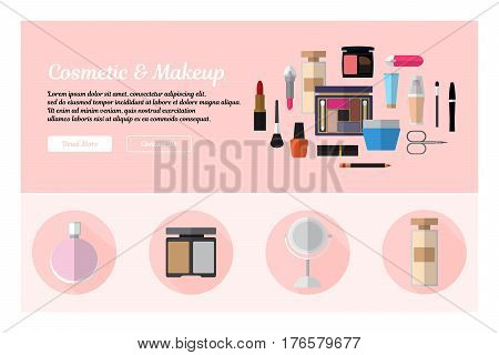 Flat design of web header template with flat icons of cosmetics and makeup. Modern vector illustration concept for websites. Infographics vector illustration