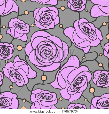 Seamless floral mosaic pattern with pink roses on gray background with light orange dots