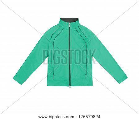 Teal Women's Training Sports Jacket; Isolated On White Background
