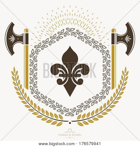 Vintage emblem with hatchets created in vector heraldic design.