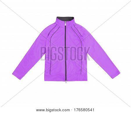 Purple Women's Training Sports Jacket; Isolated On White Background