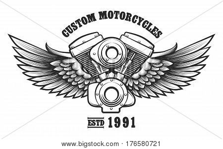 Motorcycle engine and wings in tattoo style with wording Custom Motorcycle workshop. Emblem symbol workshop design element. Vector illustration.