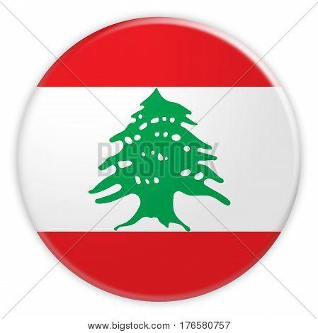 Lebanon Flag Button News Concept Badge 3d illustration on white background