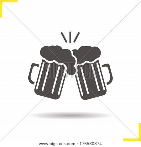 Toasting beer glasses icon. Drop shadow cheers silhouette symbol. Two foamy beer glasses. Negative space. Vector isolated illustration