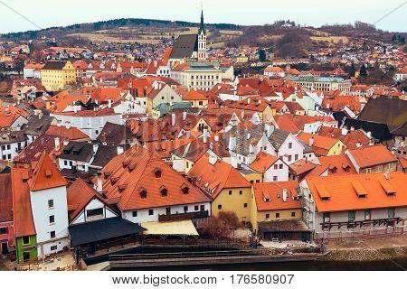 Cesky Krumlov, historic center aerial view, Czech Republic