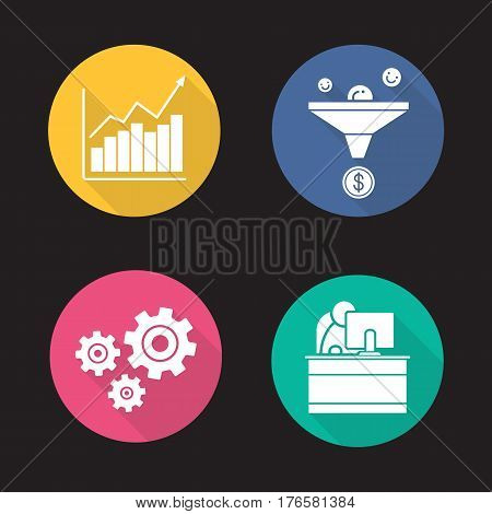 Business flat design long shadow icons set. Sales funnel, growth chart, cogwheels and office worker. Vector silhouette illustration