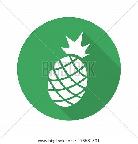 Pineapple flat design long shadow icon. Ananas. Vector silhouette symbol