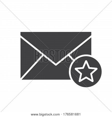 Letter with star mark icon. Email add to favorite silhouette symbol. Negative space. Vector isolated illustration