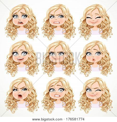 Beautiful Cartoon Blonde Girl With Magnificent Curly Hair Portrait Of Different Emotional States Set