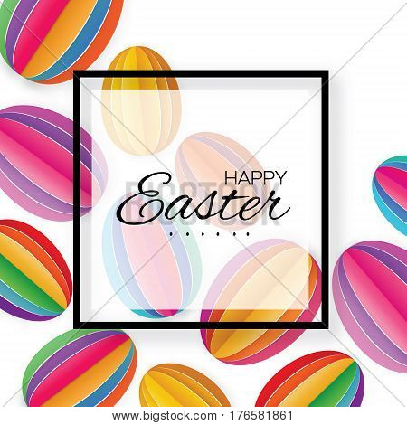 Origami Happy Easter Greeting card. Colorful Paper cut Easter Egg. Square black white frame. Oval shape. White background. Vector illustration.