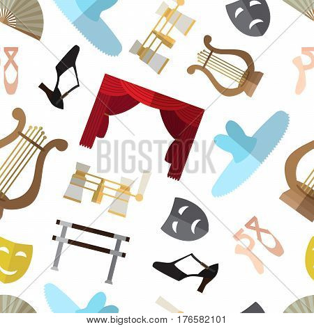Seamless pattern background with simple theater and ballet symbols flat icons on white background vector illustration