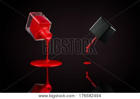 Red nail polish pouring out from the bottle and dripping from cap brush on a reflective surface