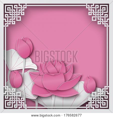 Abstract chinese square frame with floral pink background lotus flowers oriental pattern and space for title text. Vector illustration paper cut out art style. Layers are isolated